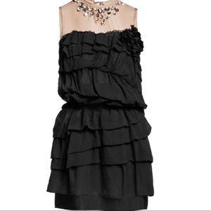 Lanvin X H&M 100% silk mini dress embellished xs